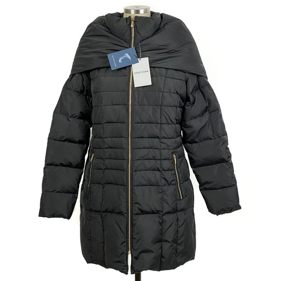 Cole Haan Quilted Down Puffer Jacket Shawl Hood